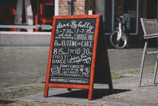 Wedding Chalkboard Emma Reid Design
